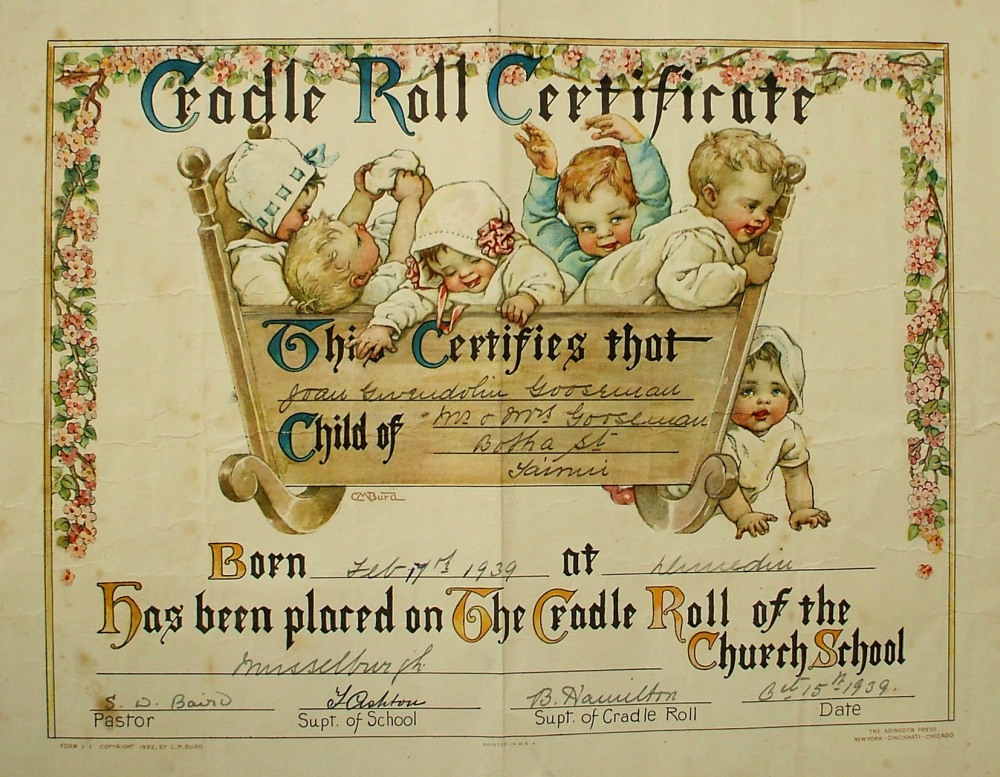 THE CRADLE ROLL AND ITS EPHEMERA (1/6)